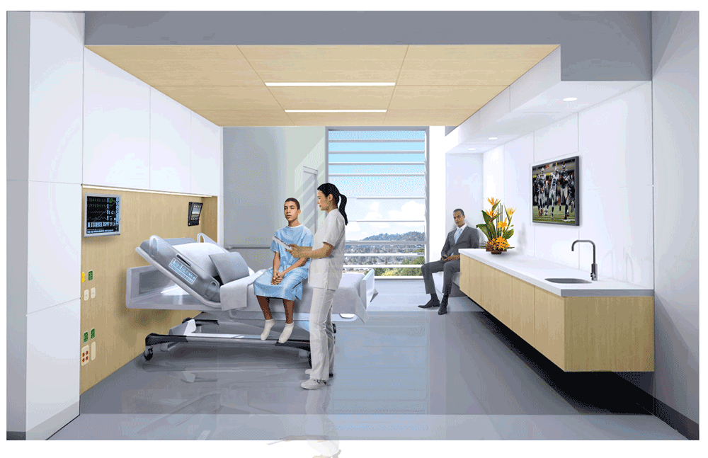 Simulation of patient room.